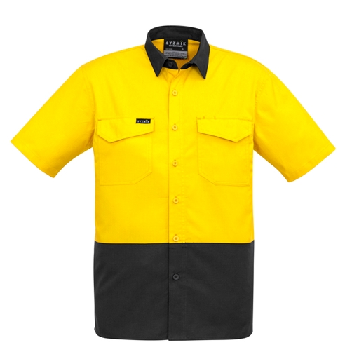 Mens Rugged Cooling Hi Vis Spliced S/S Shirt