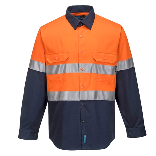 Hi-Vis Two Tone Regular Weight Shirt with Tape - L/S